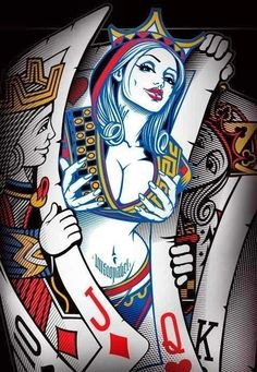 Queen of Hearts - Street art Art Pop, Fantasy Kunst, Fantasy Art, Art Carte, Geniale Tattoos, Desenho Tattoo, Chicano Art, Art Graphique, Pin Up Art