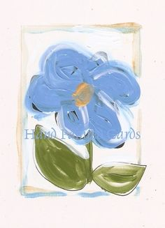 Acrylic painting on photocopied card stock. Art Cards, Hand Painting Art, Paint Designs, Blue Flowers, Lush, Card Stock, Hand Painted, Handmade, Hand Made