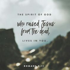 But if the Spirit of him that raised up Jesus from the dead dwell in you, he that raised up Christ from the dead shall also quicken your mortal bodies by his Spirit that dwelleth in you. Romans 8:11 KJV http://bible.com/1/rom.8.11.KJV