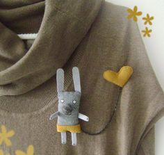 Bunny Brooch. Cute idea. Also could do other animals. With balloon instead of heart.