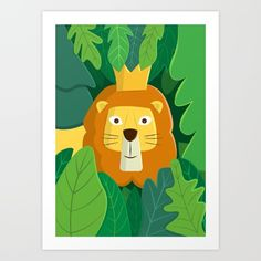 Collect your choice of gallery quality Giclée, or fine art prints custom trimmed by hand in a variety of sizes with a white border for framing. Cartoon Lion, Cute Cartoon, Jungle Art, Fine Art Prints, Canvas Prints, Kids Room Design, Top Artists, Print Design, Vibrant Colors