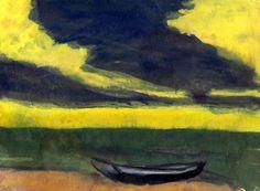 Boot am Ufer unter gelbem Himmel und dunkel-blauen Abendwolken by Emil Nolde