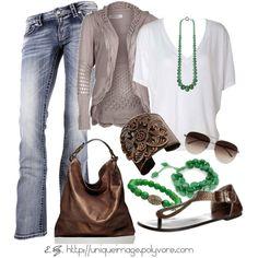 casual fun, grey, green & brown