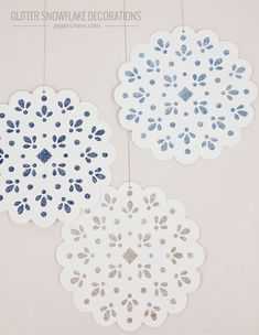 DIY Stenciled Glitter Snowflake Decorations   Paper Crave