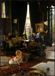 80% off a Hand Made Oil Painting Reproduction of Hide And Seek, one of the most famous paintings by James Jacques Joseph Tissot. Free certificate of authenticity free shipping.