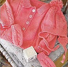 Free Knitting Pattern 60187AD Sweet Sophisticate Baby Set : Lion Brand Yarn Company
