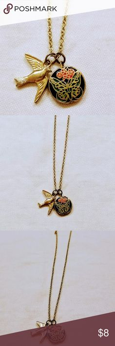 Retro Bird & Butterfly Pendant Necklace Gold Tone Necklace and Birdie Charm paired with a Circle Butterfly Charm Beautiful Necklace Classic Jewelry Necklaces