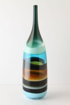 OOOOHHH WOW!!! - Sand Strata Vase, Bottle.  - Handmade by glass artist Caleb Siemon, who apprenticed under the accomplished glassblower Pino Signoretto in Murano, Italy and subsequently began his own studio in Southern California, this smooth vessel is deftly shaped and expertly ringed with hues of aqua and earth.