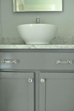 Benjamin Moore Whale Gray, white carrera marble
