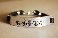 Custom yoga bracelet, peace, hamsa hand, buddha, OM, lotus flower, secret message bracelet,