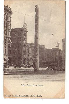 Indian Totem Pole Seattle Washington WA Old by PostcardStore, $7.50