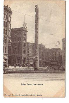 Indian Totem Pole Seattle Washington WA Old by PostcardStore, $7.50