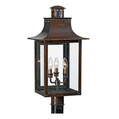 Quoizel CM9012AC Chalmers 26-Inch Jumbo Post Lantern, Aged Copper Finish by Quoizel. $597.99. From the Manufacturer                From the Charleston Copper Lantern Collection, this piece gives you the historic look of gas lighting, but without the hassle of a propane feed. It is all electric, solid copper and hand riveted, giving your home the romantic, reproduction style of antique gas lights still popular today on many of the charming homes in New Orleans and Charleston. ...