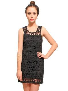 $120 Gypsy Warrior Skull Crochet Mini Dress