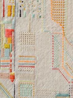 Embroidered Buenos Aires map for travel guide cover. By Rita Smirna.
