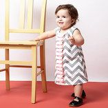 Gray & Pink Zigzag Frill Dress - Infant & Toddler