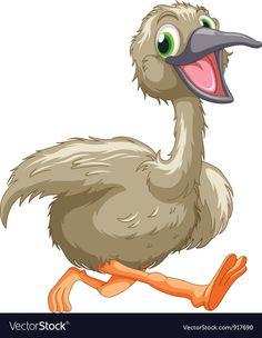 Emu cartoon vector image on VectorStock Free Vector Images, Vector Free, Cute Animal Clipart, Like Animals, Emu, Cartoon Images, Pet Birds, Royalty, Clip Art