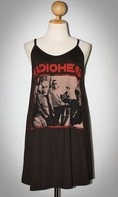 Radiohead Charcoal Black Singlet Spaghetti Strap Dress Tank Women T-Shirt Size L