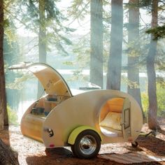 Accessories: Tea Drop Trailer/Camper Glamping how cute! I'd go camping if i had this Vw Camping, Best Camping Gear, Outdoor Camping, Camping Trailers, Camping Tools, Glam Camping, Retro Camping, Luxury Camping, Camping Equipment