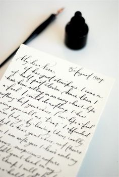 Script and handwritten letters like this make me sad that kids don't learn cursive or penmanship in school anymore. Writing A Love Letter, Handwritten Text, Anne With An E, Old Letters, Calligraphy Letters, Learn Calligraphy, Wedding Calligraphy, Beautiful Calligraphy, Modern Calligraphy