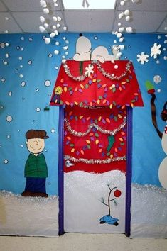 This Charlie Brown and Snoopy Christmas classroom door display is adorable. This Charlie Brown and Snoopy Christmas classroom door display is adorable. Decoration Haloween, Diy Christmas Door Decorations, Decoration Creche, Christmas Door Decorating Contest, School Door Decorations, Christmas Themes, Christmas Fun, Charlie Brown Christmas Decorations, Christmas Classroom Door Decorations