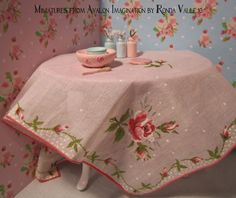 Miniature dollhouse Shabby Chic Bowl Set with hand painted vintage style roses - pink and mint green