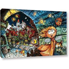Luis Peres Lighthouse Elf Village Gallery-Wrapped Canvas, Size: 16 x 24, Blue
