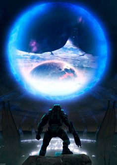 Halo entering the portal 343 Industries, Halo Master Chief, Halo Series, Halo Game, Halo 2, Halo Reach, Landscape Structure, Red Vs Blue, Nerd Art