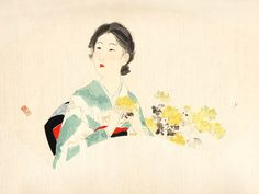女は花である — Kaburagi Kiyokata (1878-1972) 鏑木清方    Young Woman...