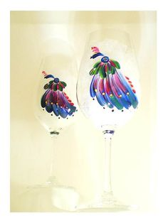 Hand Painted Champagne Glasses  Colorful by HandPaintedPetals, $72.00