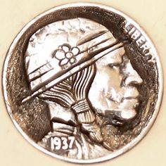 "DAVID ""COALBURN"" RAYMOND HOBO NICKEL - FLOWER DERBY INDIAN* - 1936 BUFFALO PROFILE Hobo Nickel, Derby, Buffalo, David, Carving, Profile, Indian, Flower, User Profile"