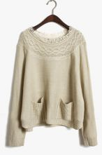 Apricot Long Sleeve Embroidery Pockets Sweater $36.8 #SheInside #sweater #want #fashion #cute #sweater