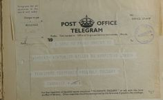 """Sir Nicholas Winton """"Transport postponed"""" Czech Kindertransport  This telegram demonstrates how difficult it was to organize a transport from Prague, as trains were often delayed. The telegram, dated March 12, 1939, was sent by Trevor Chadwick, Nicholas Winton's counterpart in Prague with the text: """"Transport postponed. Probably Tuesday.""""  Credit: Yad Vashem Archives"""