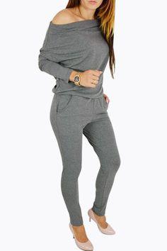 ebf594a2f167 Black Round Neck Elastic Waist Jumpsuits - US 17.95. Pocket DetailJumpsuit  With SleevesElastic WaistJean ShortsLong SleeveGreyClothes For WomenJeansOff  The ...
