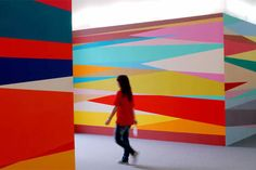 """Installation view (detail) of """"Give Me Shelter,"""" 2007 by Odili Donald Odita at the 52nd Venice Biennale"""