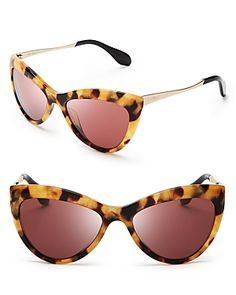 Miu Miu Cat Eye Sunglasses in Golden Yellow Havana