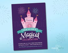 Magical Princess Castle Cake Birthday Invitation