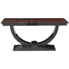 French Art Deco Exotic Macassar Ebony or Black Lacquer Console Table