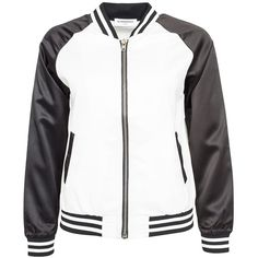 Glamorous Baseball Jacket ($50) ❤ liked on Polyvore featuring outerwear, jackets, clyde, jumpers & cardigans, womens-fashion, straight jacket, tall jackets, zipper jacket and zip jacket