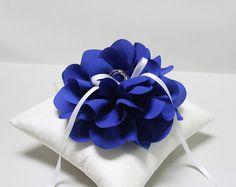 Anello di matrimonio cuscino - cuscino per fedi Blu royal, portatore cuscino anello, cuscino anello, anello nuziale cuscino, cuscino anello di nozze cerimonia