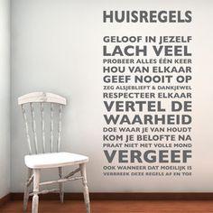 ✓Leverbaar in 50 kleuren. ✓Keuze uit matte of glanzende folie. ✓Gratis verzending in Nederland.  Weer zo'n topper onder de muurstickers. Deze tekst mag niet ontbreken in jouw huis! Deze sti...