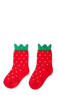 Strawberries are sweet, delicious, and ridiculously cute! Cute kids Mini Strawberry Crew socks by Hansel from Basel. Funky Socks, Crazy Socks, Cute Socks, Awesome Socks, Kids Socks, Fashion Moda, Sock Shoes, Look Cool, Cute Kids