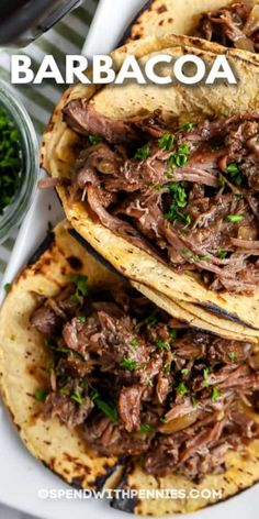 Barbacoa is a Mexican-inspired recipe that is full of chipotle flavor! Top with cheese, sour cream, and salsa for a fun twist on taco night! #spendwithpennies #barbacoa #recipe #maindish #slowcooker #best Meat Recipes, Slow Cooker Recipes, Mexican Food Recipes, Crockpot Recipes, Dinner Recipes, Cooking Recipes, Healthy Recipes, Smoker Recipes, Healthy Food