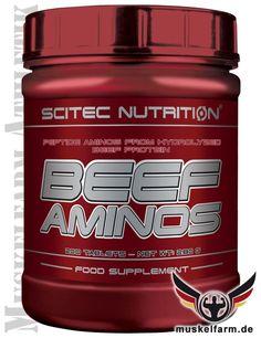 Scitec Nutrition Beef Amino Tabletten mit allen essenziellen Aminosäuren, hergestellt aus hydrolisiertem Rinderprotein, breites Peptid-Spektrum.