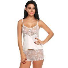 87f0ba4455094b Women Sexy Lingerie Strap V-neck Lace Nightwear Satin Sleepwear Sets
