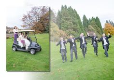 Slaley Hall wedding. Fun wedding photo's are always from a part of your wedding day you will cherish, groomsmen, golf buggy. Northumbrian Photography, Blyth.