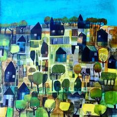 'Blue sky' A vibrant landscape painting by Este MacLeod painter and applied artist. available.  Este has prints available on https://www.etsy.com/uk/shop/EsteMacLeodDesigns Follow her on Instagram/EsteMacLeod