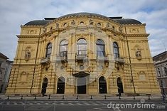 beautiful-view-over-national-theater-szeged-neo-baroque-style-csongrad-hungary Theater, National Theatre, Hungary, Royalty Free Images, Notre Dame, River, Stock Photos, Explore, Beautiful
