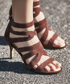 Caged heels in burgundy suede   Sole Society Adrielle