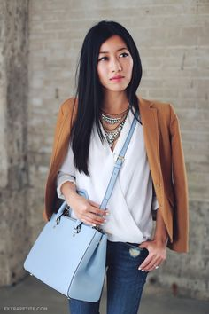 Casual outfit - camel blazer, white blouse, skinny jeans and a colorful bag (Michael Kors)
